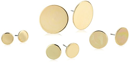 - Steve Madden Women's Four Piece Yellow Gold-Tone Circle Post Earring Set