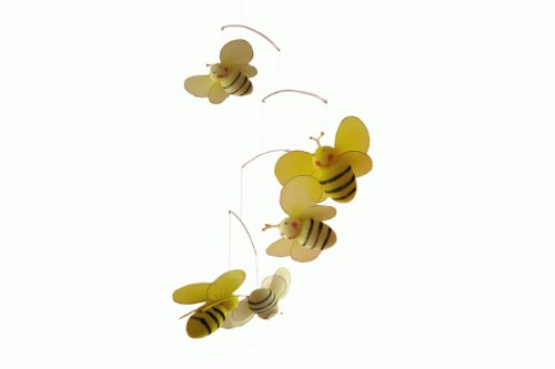 Bumble Bee Mobile Hanging (The Butterfly Grove Bailey Bumblebee Mobile Hanging Mesh Nylon Decor, Yellow Daffodil)
