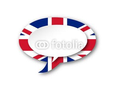 English Language Icon (England UK Flag Speech Bubble Button ...