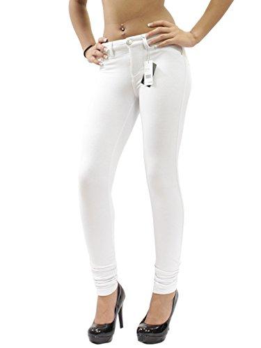 (JW Maxx Jeans Juniors Skinny Jeggings Stretch Cotton Casual Pants (White, Medium))