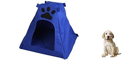 Amazon.com : eDealMax impresión de la pata del Animal doméstico de la perrera cojín extraíble Dog House agujero, Azul : Pet Supplies