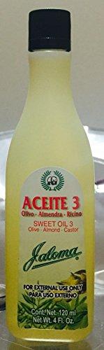 Jaloma Sweet Oil 3 / Olive Almond Castor 2 oz / Aceite Olivo Almendra Ricino (Oil Sweet Olive)