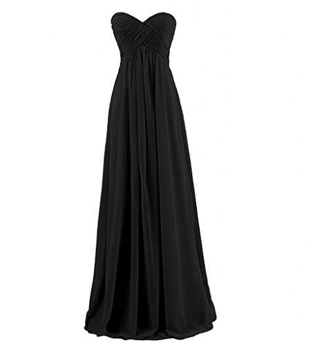 Promkleider aus Herrlich Rock Milano Bride Empire Schwarz Partykleider Herzausschnitt Lang Abendkleider Chiffon OXxSzUq