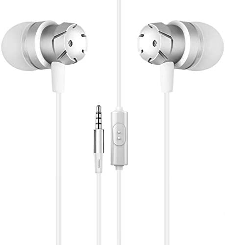 Earphones Wired, 3.5mm Stereo Noise Cancelling in Ear Headphones High Resolution Heavy Bass with Mic