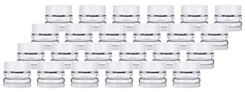 Clear Glass 0.25 oz Thick Wall Balm Jars with White Foam Lined Smooth Lids (24 pack) ()