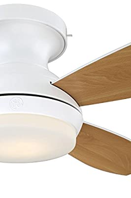 "GE Kinsey 44"" White LED Indoor Ceiling Fan with SkyPlug Technology for Instant Plug and Play Mounting"