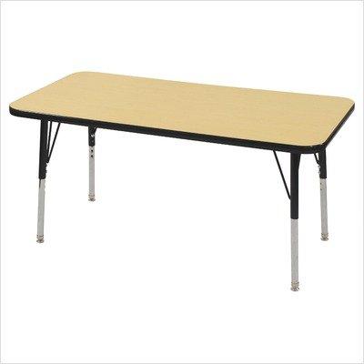 ECR4Kids 24'' x 48'' Rectangular Activity School Table, Toddler Legs w/Ball Glides, Adjustable Height 15-23 inch (Maple/Black)