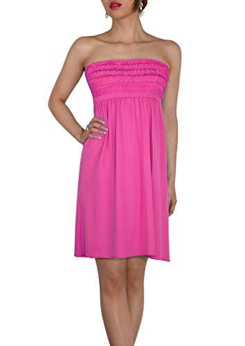 Colours All Beach Pink Strapless 12 Sodacoda Dark Lenght Knee Size uk Summer Dress One Holiday 8 80qx4a