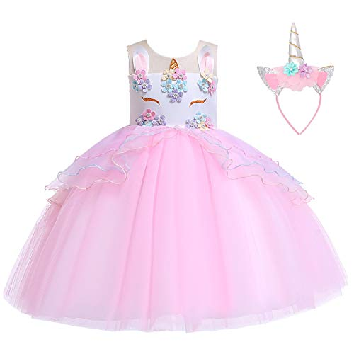 Flower Girls Unicorn Costume Kids Pageant Princess Party Dress with Headband for 2-8Years (7-8 Years, Pink)