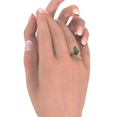 ZIGZAG PEAR Bagues Or Blanc 18 carats Emeraude Vert 0,4 Rond