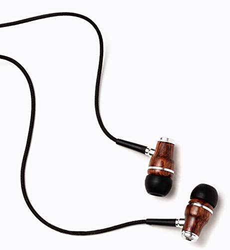 Symphonized NRG Premium Genuine Wood Earbuds, in-Ear Noise-Isolating Headphones, Earphones with Microphone and Nylon Cable (Black)