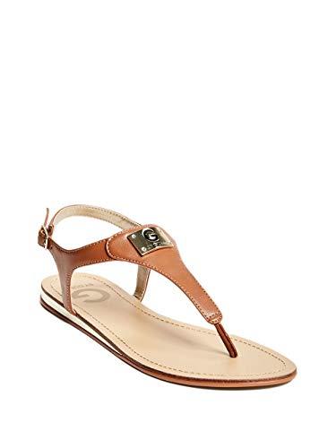 G by GUESS Womens Carmela Logo Plaque T-Strap Sandals