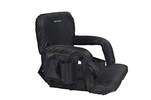 Snocreeq Portable Reclining Stadium seat Folding Sport Chair for Bleachers Benches Cushion Padded Back&armrests, Slip-&Water-Resistant, Easy-Carry Straps.(Black) ()