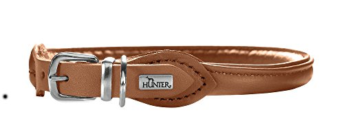 (Hunter Round and Soft Petit Nickel Elk Leather Collar, Small,)