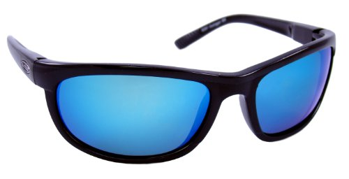 Sea Striker Outrigger Polarized Sunglasses with Black Frame,Blue Mirror and Grey Lens (Fits Medium to Large Faces) ()