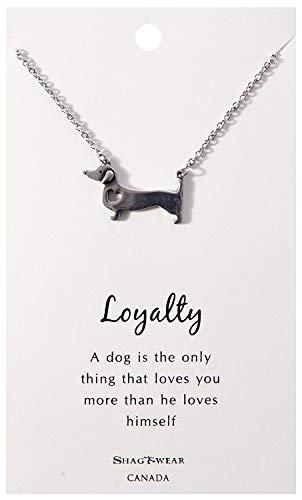 Shag Wear Favourite Animals Inspirations Quote Pendant Necklace (Dachshund Dog, Loyalty -
