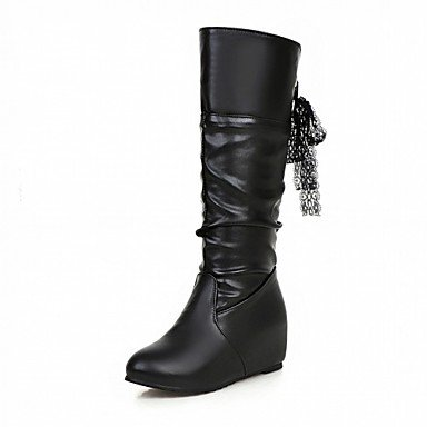 Round amp;Amp; Flat Leatherette Pu Fall Boots Boots High Comfort RTRY Shoes Knee Fashion Boots 7 EU37 5 UK4 CN37 Novelty Women'S For 5 5 Heel Party US6 Winter Toe Ribbon Tie qwPtBOt