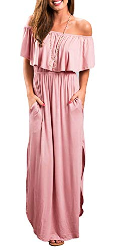 - Othyroce Womens Off Shoulder Ruffle Party Long Dresses Casual Side Split Beach Maxi Dress with Pockets (07-g-Pink, XS)