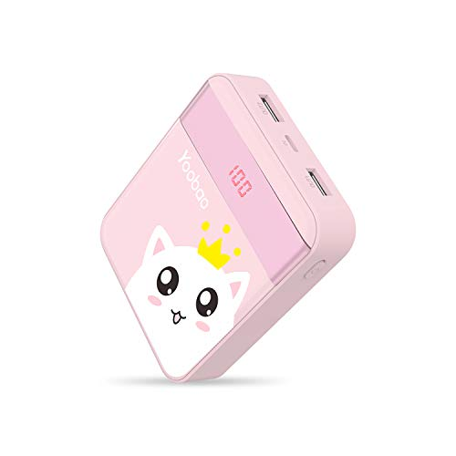 Yoobao M4Pro 10000mAh Power Bank Small Portable Charger Powerbank External Cell Phone Battery Backup Pack (LED Display, Dual Output, Dual Input) Compatible Cellphone Smartphone Tablet - Pink Cat