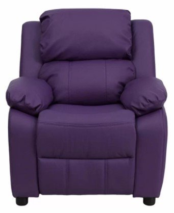 Comfortable Recliner Chair For Kids W/ Storage Arms