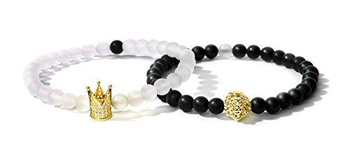 Women Mens Bracelet Bella.Vida 6mm Natural Healing Matte White Crystal and Black Onyx Bead Elastic Double Bracelet With Crown and Lion(Avatar of King)