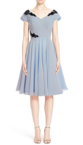 MACloth Formal Cap of Mother Dress Grau Short Sleeve Gown Cocktail Bride Elegant 66qxH1r