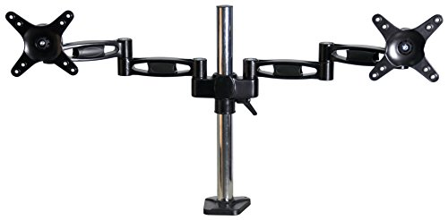 Xtrempro Dual Monitor Mount LCD Desk Arm for 13'' - 27'' Computer Screen, Height Adjustable, Tilt ±15°, Swivel 180°, 360° Rotation, VESA up to 75 x 75, 100 x 100, 17.5Lbs Capacity each – Black (41019) by XtremPro (Image #4)