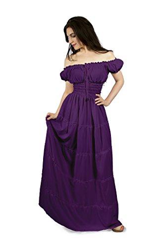 Renaissance Peasant Faire Gown Boho Hippie Sun Dress (2XL/3XL, Plum)