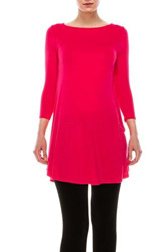 The Classic Women's Plain Loose Fit Swing Elong Tunic Top Soft Casual Basic Flare Hem T-shirts Dress in 3/4 Sleeve Deep Coral Medium