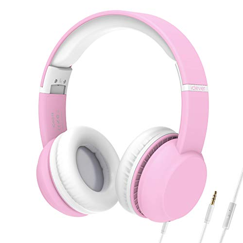 iClever HS15 Kids Headphones – Wired Headphones for Kids, Stereo Sound, Adjustable Metal Headband, Foldable, Portable, Tangle-Free Wires, 94dB Volume Limiting – Childrens Headphones Over Ear, Pink