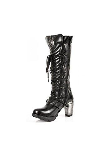 NEWROCK New Rock TR004 S1 Ladies schwarzen Lederschnalle Spitze kniehohe Stiefel mit Reißverschluss Größe 37