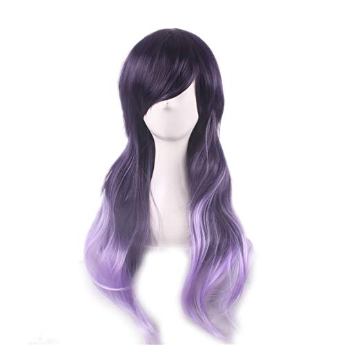 Zr Harajuku Style Purple Gradient Long Curly Hair Heat Resistant Cosplay Party Bob Hair Wig for Lady Madam Daily Life