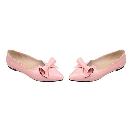 Allhqfashion Dames Lakleder Lage Hak Stevige Pumps-schoenen Roze