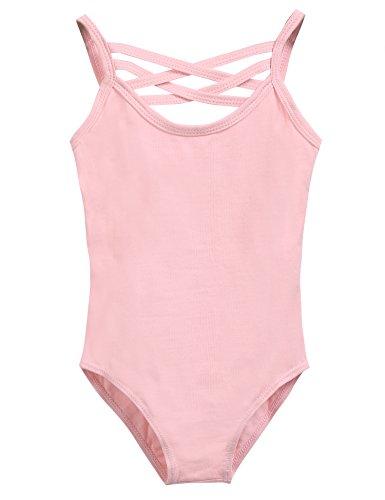 Arshiner Girls' Backless Dance Ballet Camisole Leotard,Ballet Pink,130 Complete Body Unitard