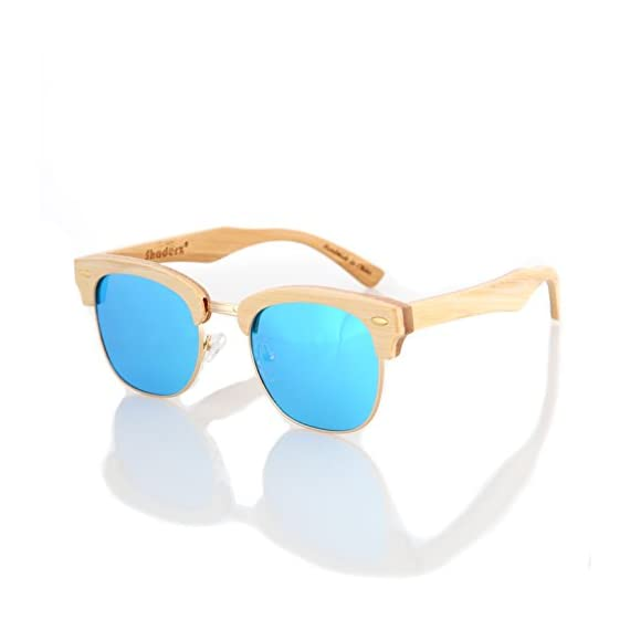 Wood wooden polarized sunglasses natural club half semi-rimless frames w/pouch 4 handcrafted wooden sunglasses- each pair of sunglasses is unique and is made from sustainable wood polarized lenses - our polarized lenses provides crystal clear vision and anti-glare with uv400 protection free microfiber pouch- each pair of sunglasses come with one pouch to store and protect them.
