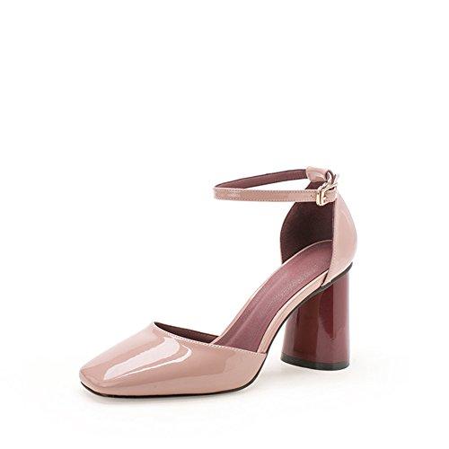 Sommer Sandalen,Womens Shoes Heel Heels,ein Wort Schnalle mit Gezeiten Casual Schuhe-B Fußlänge=22.8CM(9Inch)