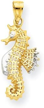 10k Yellow Gold & Rhodium Seahorse Charm Ch