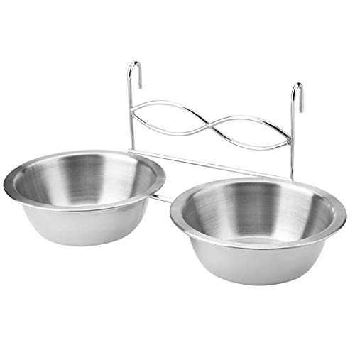 - Garosa Hanging Pet Bowls Stainless Steel Food Water Bowls Feeder Detachable Dog Cage Kennel Hanging Feeding Drinking Containers with Hook