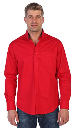 Gioberti Mens Long Sleeve Casual Twill Contrast Shirt, Red, 2X Large