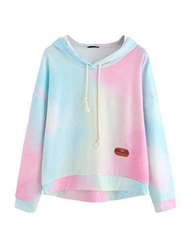 (SweatyRocks Women's Long Sleeve Hoodie Sweatshirt Colorblock Tie Dye Print Tops Multicolor M)