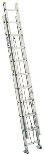Werner D1228-2 225-Pound Duty Rating Aluminum Flat D-Rung Extension Ladder, 28-Foot