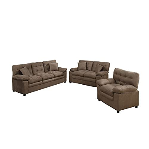 Charmant Poundex Bobkona Colona Mircosuede 3 Piece Sofa And Loveseat With Chair Set,  Dark Brown