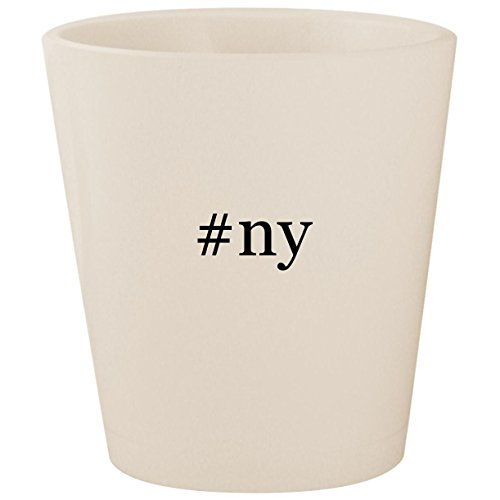 #ny - White Hashtag Ceramic 1.5oz Shot Glass