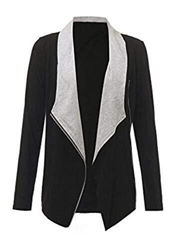 Tempo Autunno Outerwear Giacca Donna Cappotto Libero Costume Cerniera Jacket Primaverile Nero Huixin Con Di Sportivo Giubbino Lunghe Elegante Maniche Fashion Transizione XFqpn