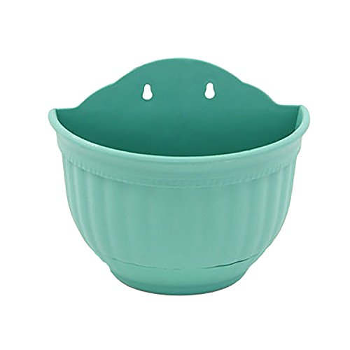 Small Wall-Mounted Planter Plastic Hanging Flower Pot, Green