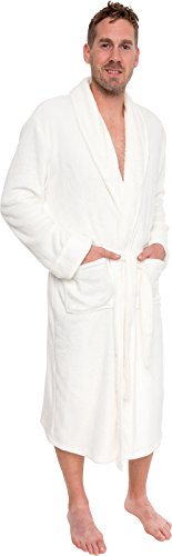Ross Michaels Mens Plush Shawl Collar Kimono Bathrobe Robe (White, XXL)