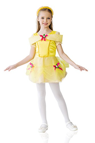 Kids Girls Costume Princess Fairy Tale Summer Magic Classic Party Outfit Dress Up (6-8 years, Yellow)