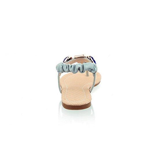 Odomolor Damen Elastic Band Getrennt Zehe ohne Absatz PU Leder Eingelegt Zehentrenner Sandalen Blau