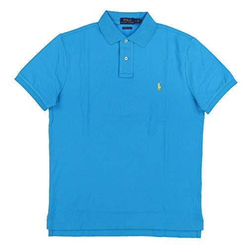 Polo Ralph Lauren Mens Custom Slim Fit Polo Shirt (Small, Lake Blue)
