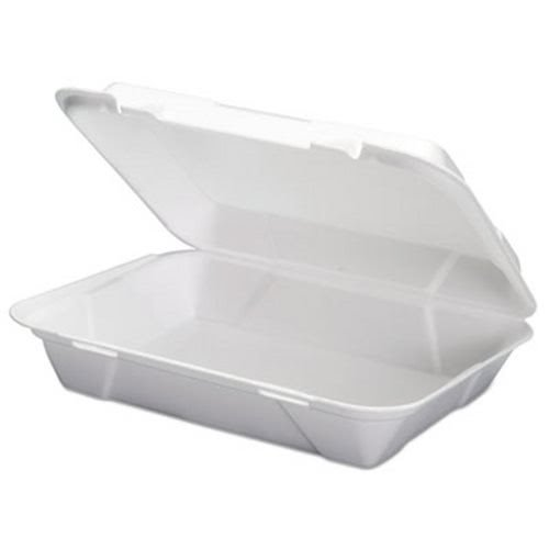 Genpak SN270-V 13-Inch Length by 9-3/4-Inch Width by 3-3/8-Inch Height White Color Super Jumbo Deep Foam Vented Hinged Lid Dinner Container 100-Pack (Case of 2)